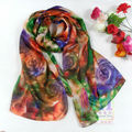 Women Long Silk Scarf Shawl Autumn Winter 100% Pure Mulberry Silk Extra Large Orange Green Scarf Summer Beach Towel Cover Up