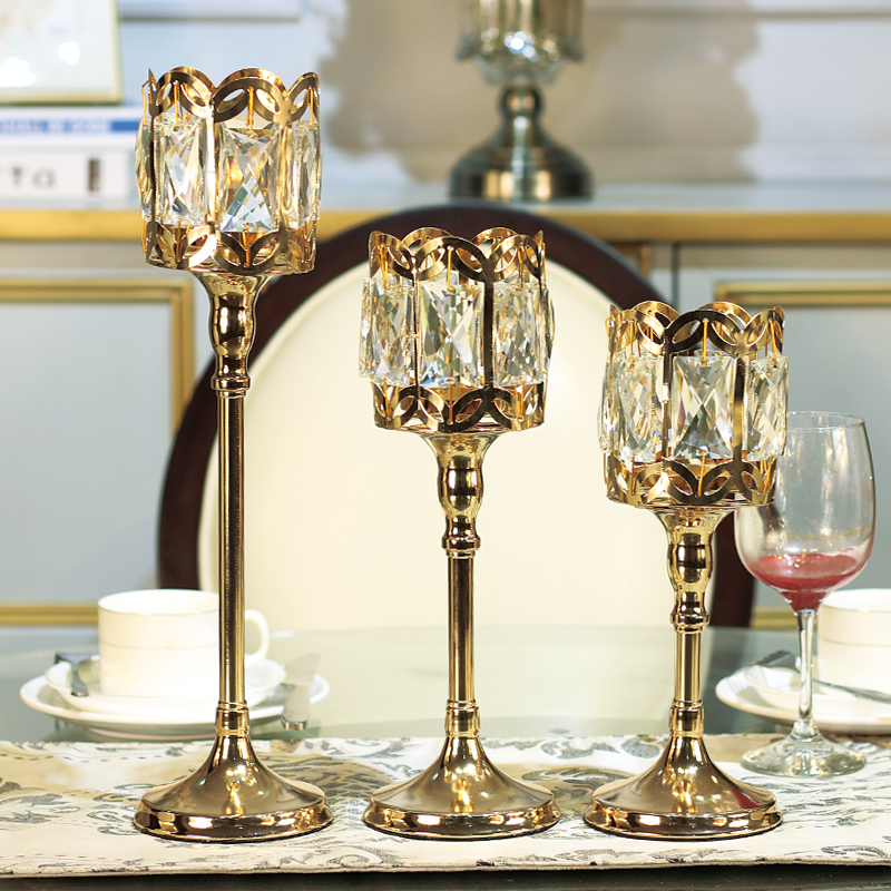 Europe gold candle holders Crystal glass candle holder wedding centerpieces for tables candlestick candles home decoration in Candle Holders from Home Garden