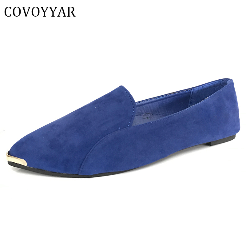 COVOYYAR 2018 Pointed Toe Metal Women Shoes Vintage Flock Work Office Drive Autumn Spring Solid Flat Shoes Loafers WFS102 women ladies flats vintage pu leather loafers pointed toe silver metal design