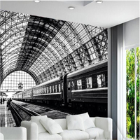 Beibehang Large Custom Wallpaper Wall Murals 3d Simple Train Station Black And White Classic Landscape Background