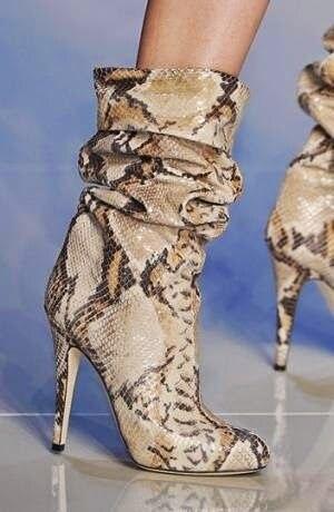Nova primavera Mulheres Sexy de Pele de Cobra Python Apontou Toe Stiletto saltos Roma Estilo Lady Botas Mid-calf Botas Curtas Dobre Partido Booties