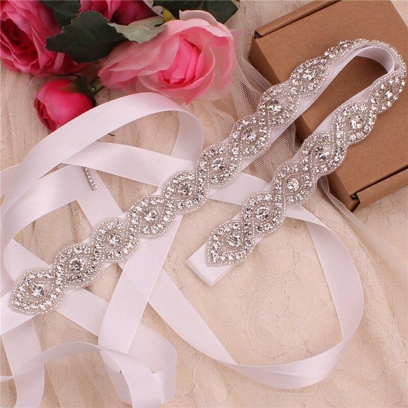 YJWSXF Prachtige strass riem Hand Bruiloft Riemen Crystal Parel Bruids riem Voor Avondjurk Wedding Sash(China)