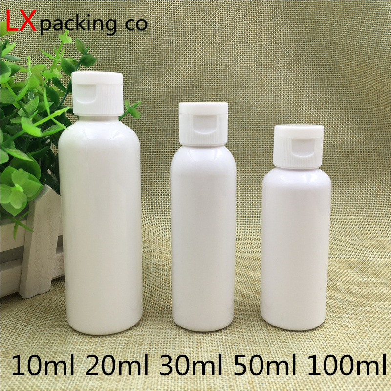 30 stücke 10 20 50 60 100 ml Weiß Kunststoff Olivenöl parfüm Leere Flaschen Wasser Flüssigkeit Verschanzt Flip Container bank Freies Verschiffen