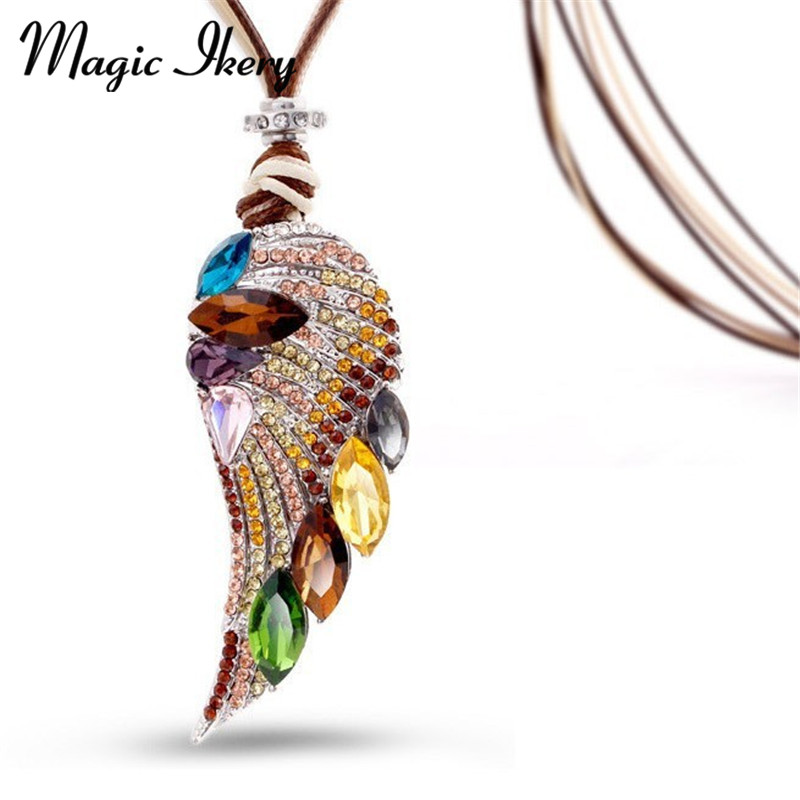 Magic Ikery Nya 2017 Rose Gold Color Crystal Luxury Feather Angel wing Långa halsband Hängen Mode smycken för kvinnor