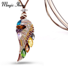 Magic Ikery New 2017  Rose Gold Color Crystal Luxury Feather Angel wings Long Necklaces  Pendants Fashion Jewelry for women