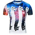2016 new arrival summer style funny cat print 3D mens t shirt lovely cartoon shirt breathable comfortable mens top tees