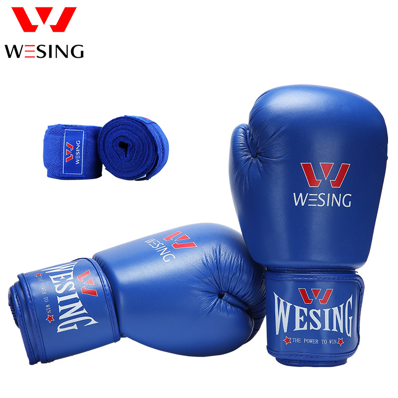 Wesing Pro Style Boxing Gloves Approved by AIBA with Cotton Handwraps Bandages for Boxing Martial Arts Training Protective Gears wesing aiba approved boxing gloves 12oz competition mma training muay thai kickboxing sanda boxer gloves red blue