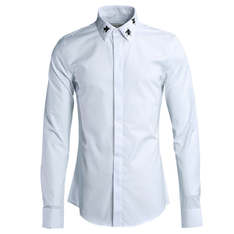 New Cotton Beaded Men's Long-sleeved Shirt Men Fashion Shirt Men 2018 Long Sleeve Ropa De Hombre Plus Size Men Clothes