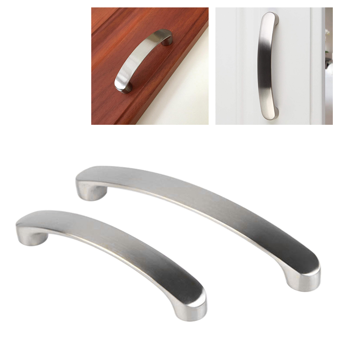 Modern Minimalist Cabinet / Wardrobe / Closet Furniture Door Handle 96/128 / 160MM Brushed Nickel Cabinet Kitchen Access