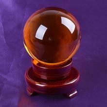 Barco de EE. UU. 80mm raro ámbar asiático cuarzo Feng Shui bola de cristal esfera moderna decoración de mesa buena suerte bola