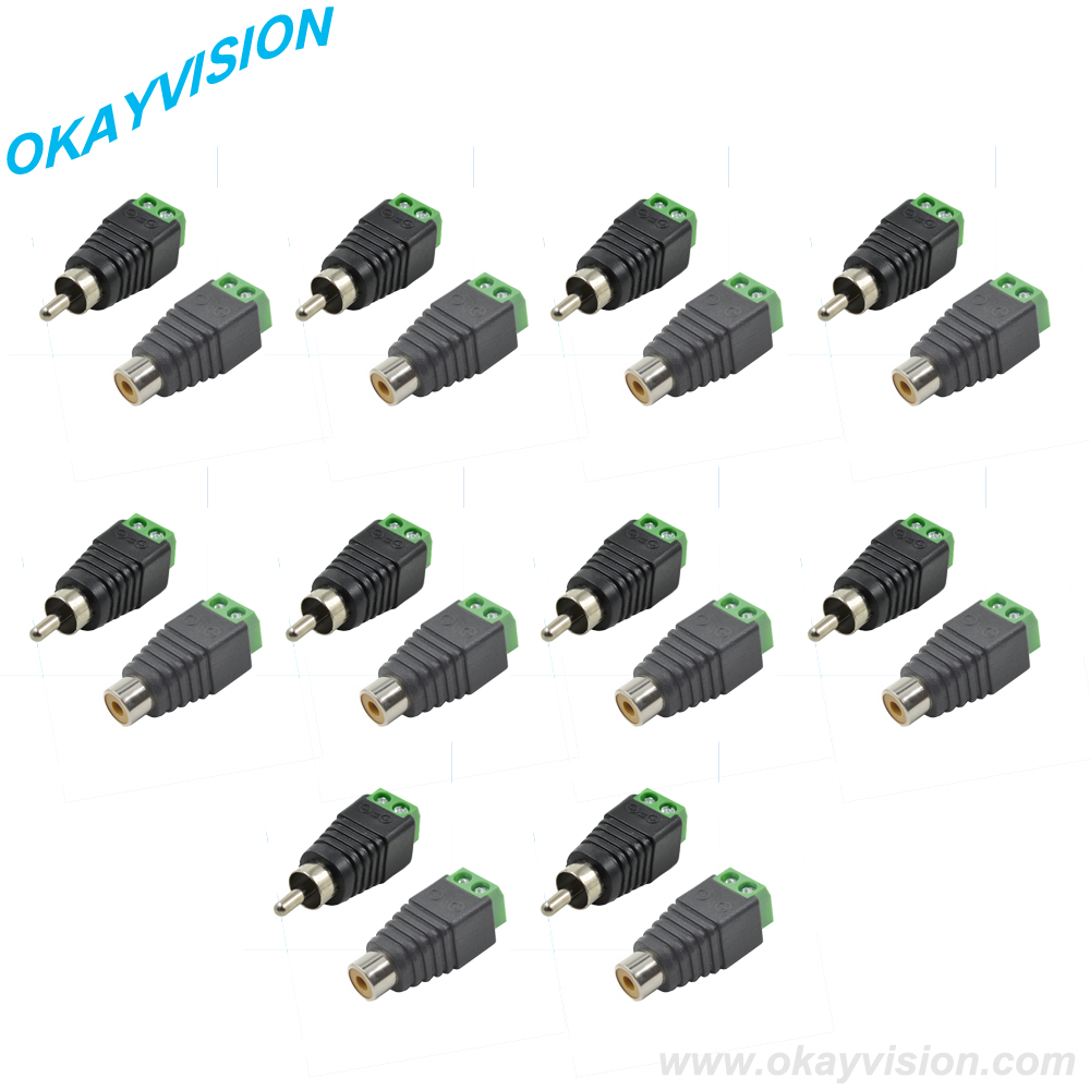 hight resolution of 10 pair rca male female for cctv high qualityphono rca male plug to av screw dc terminal plug connector cctv video av balun in cctv accessories from