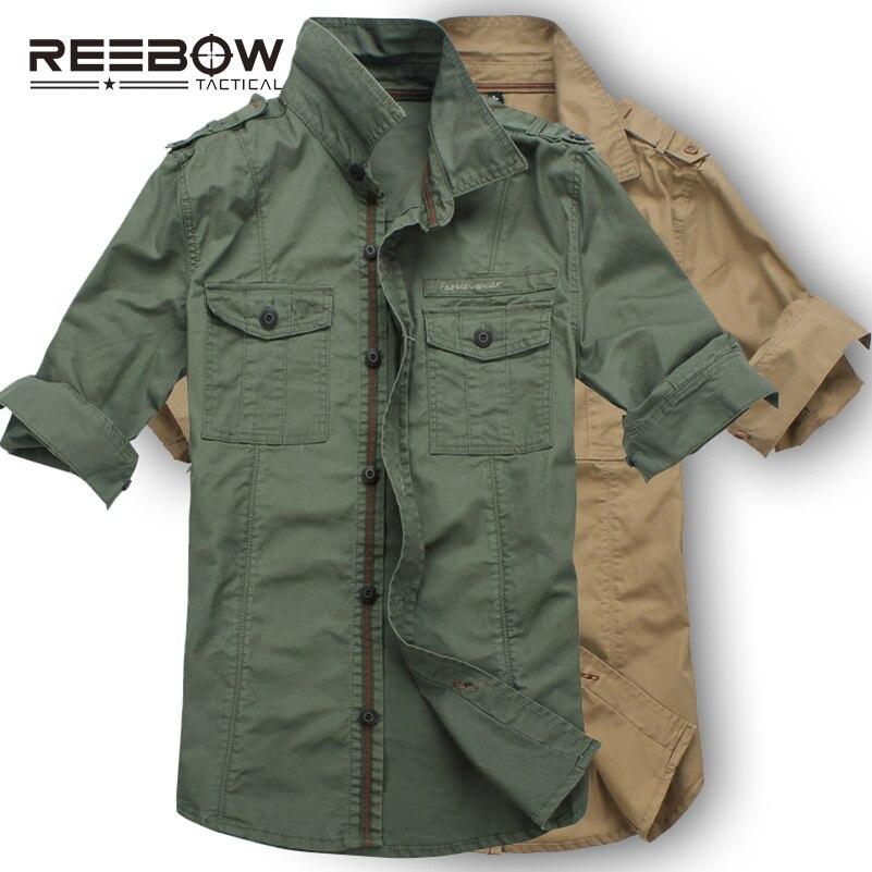 REEBOW tactique hommes automne militaire randonnée en plein air chemises à manches longues armée sport coton respirant chemise 2016 nouveau outillage lâche