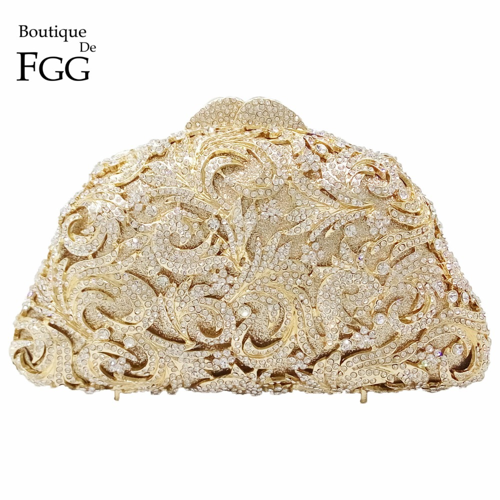 Boutique De FGG Hollow Out Flower Women Gold Crystal Purses Evening Bags Wedding Clutch Handbag Minaudiere