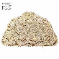 Boutique De FGG Hollow Out Flower Women Gold Crystal Purses Evening Bags Wedding Clutch Handbag Minaudiere Bag