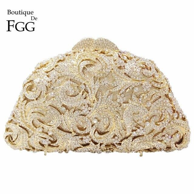 Boutique De FGG Oco Out Flor Mulheres Bolsas Sacos de Noite De Embreagem Bolsa de Casamento de Cristal Ouro Minaudiere Bag
