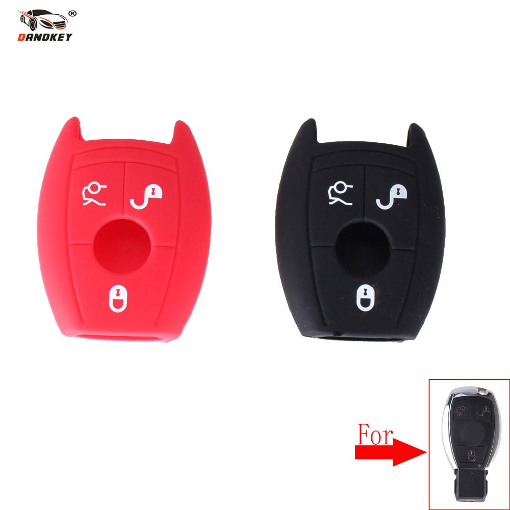 DANDKEY 3 buttons Silicone Car Key Cover Case For Mercedes Benz W203 W211 CLK C180 E200 AMG C E S C Protector Black Red