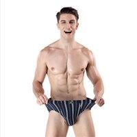 Men's Briefs Panties Men's Cotton Underwear Briefs Comfortable Striped Brief Panties for Men Sexy Underpants Shorts 3pcs\lot