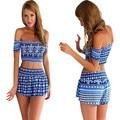 2017 Summer new sexy blue print short Sleeve Top + Shorts Bra lo shi shorts shorts skirts 2pcs Women's Sets Hot Sale