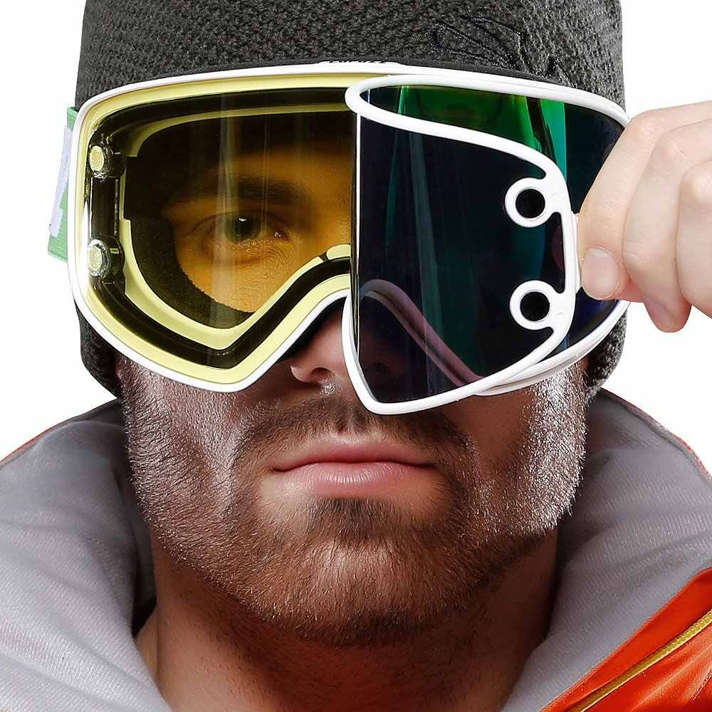 baffd00d6e0 ... COPOZZ Ski Goggles 2 in 1 with Magnetic Dual-use Lens for Night Skiing  Anti ...