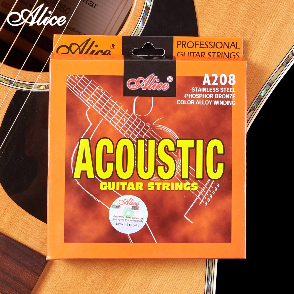 Acoustic Guitar Strings Stainless Steel Coated Copper Alloy Wound Alloy Wound Alice A208 rotosound rs66lc bass strings stainless steel