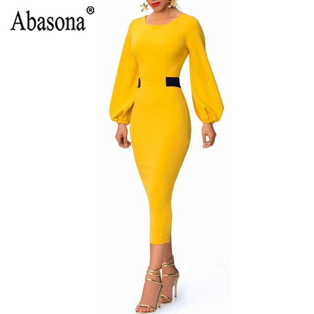Abasona Yellow Pencil Dress Women O Neck Long Sleeve Split Woman Slim Midi Dress Ladies Fashion Patchwork Elegant Party Dresses 1