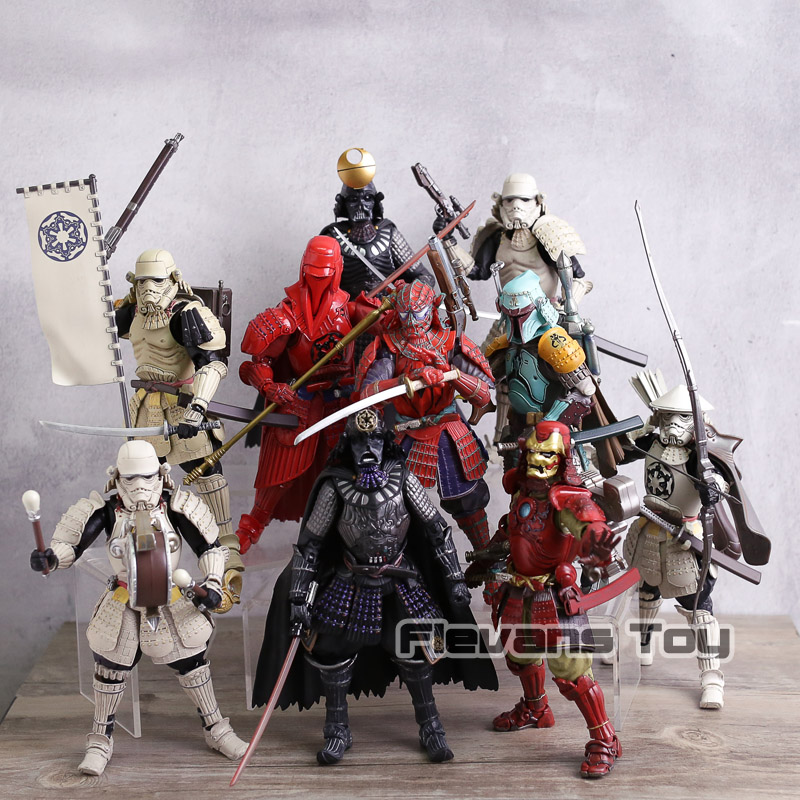 купить Samurai Star Wars Darth Vader Stormtrooper Boba Fett Spiderman Iron Man PVC Action Figure Collectible Model Toy онлайн