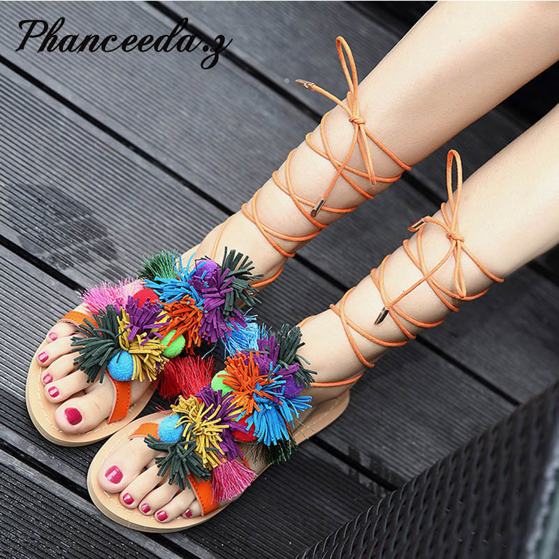 2017 Bohemian Up Open Toe Sandals Handmade Rome gladiator sandals Tassels Flats Fringed Fur Cross Strap