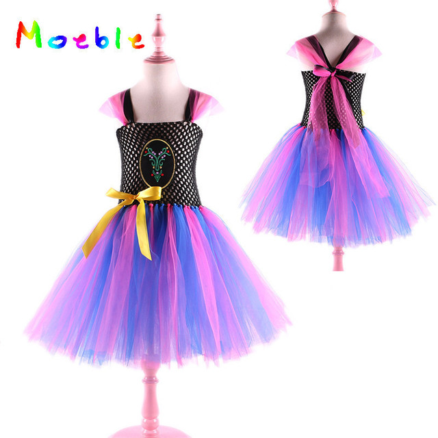 9088fc48b6 Blue Flower Girl Dresses Princess Kids Tutu Dress for Girls Anna Elsa Queen  Cosplay Costume Baby Birthday Photo Props Vestidos