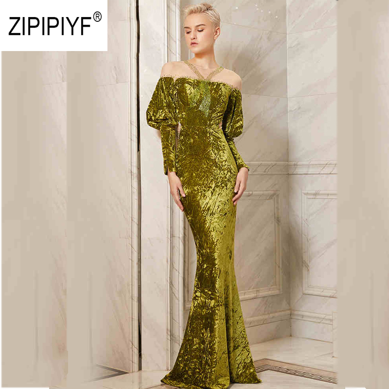Vestido Elegant Puff Sleeve Mesh Patchwork Dress 2018 New Velvet Party Autumn Winter Company Annual Meeting
