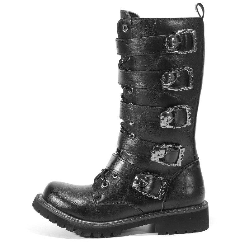 Caoutchouc Fermeture Militaire 38 2018 En Hommes Glissière Désert slip Bottes De Haute 46 Non Cuir Chaussures Semelle Indestructible À Noir QCsrthd