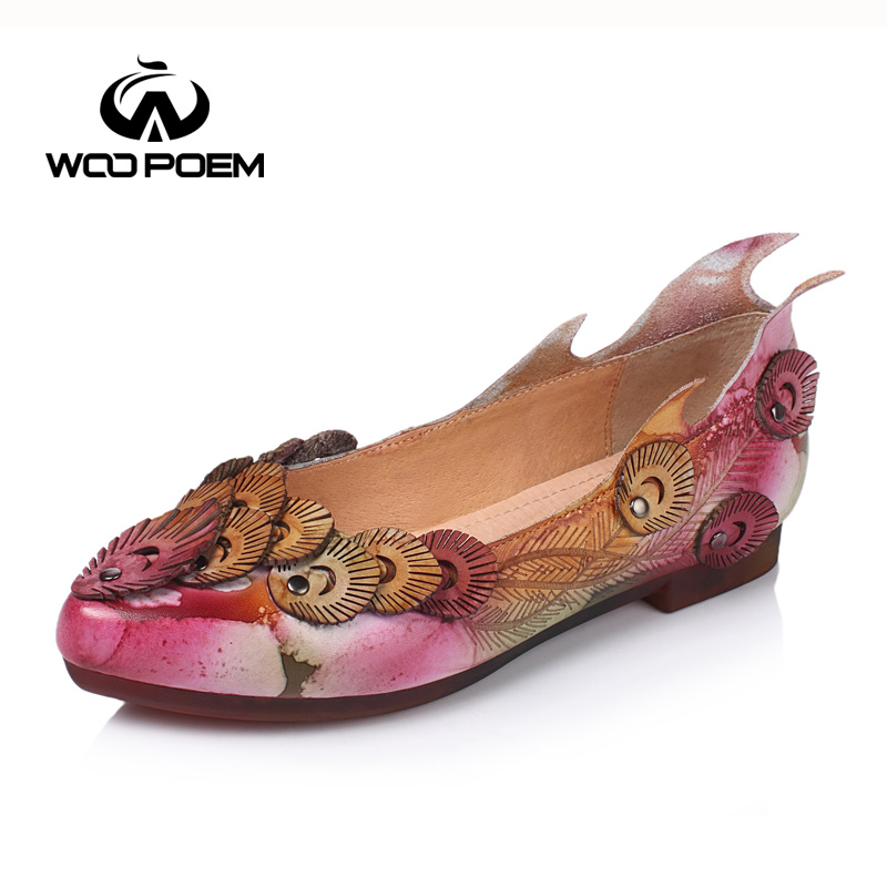 ФОТО WooPoem Spring Autumn Shoes Women Breathable Cow Leather Flat Comfortable Low Heel Flats Shallow Female Casual Shoes W17X8815G
