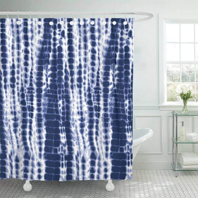 Fabric Shower Curtain Watercolor Shibori Indigo Blue Tie Dye Pattern Navy Water Color Dyed Batik Abstract Bathroom Curtains