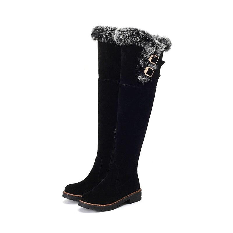 Mode Über Frauen Das Hoch Winter Heels Flock Schnalle Neueste Platz Damen Beige Stiefel Knie Morazora Herbst Oberschenkel schwarzes 2018 Schuhe wqfnIZ