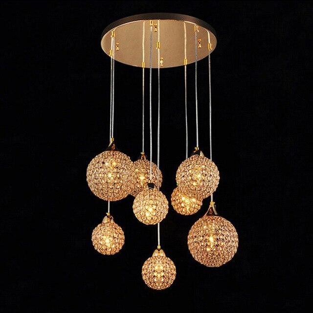8 crystal ball rvs crystal hanglampen slaapkamer lampen e14 glans licht crystal restaurant hanger lampen wpl146