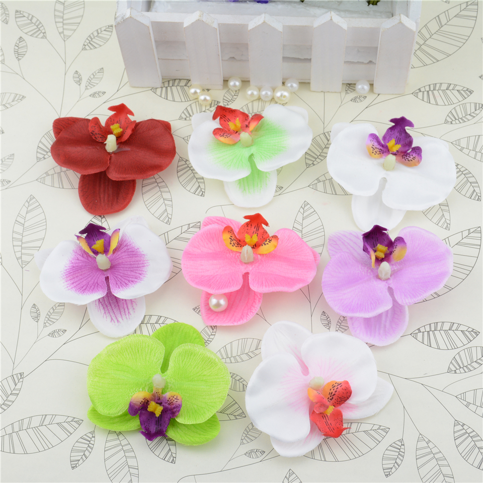 ᐃ10pcs Silk Butterfly Orchid Artificial Flower Head For Wedding Car ...