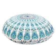 Mandala indio Grande Piso Funda de Almohada Caso Cojín de Meditación Puf Puf Redondo Bohemio bohemio piso cojines almohadas Caso