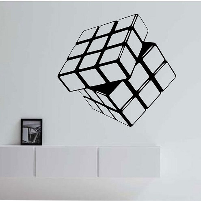 Rubik S Cube Vinyl Decal Geometric Wall Stickers For Kids Rooms Living Room Home Design Decor Mural