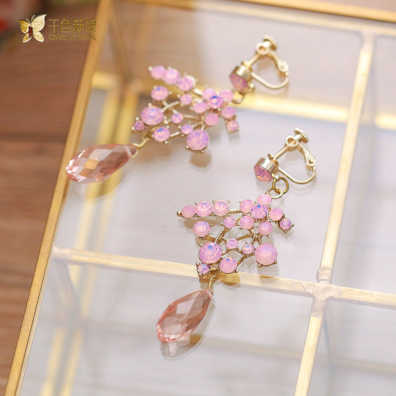Fashion Women Pink Pendant Earrings Rhinestone Jewelry Crystal Drop Cute Festival Prom Accessories Gifts Xiahe In From