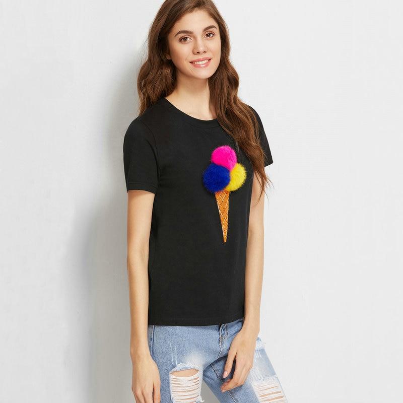 Female Spring Summer New Black Short Sleeve T-Shirt Women Fashion Sequins Hair Ball Loose Tees Casual Ladies O-Neck Top JQ267