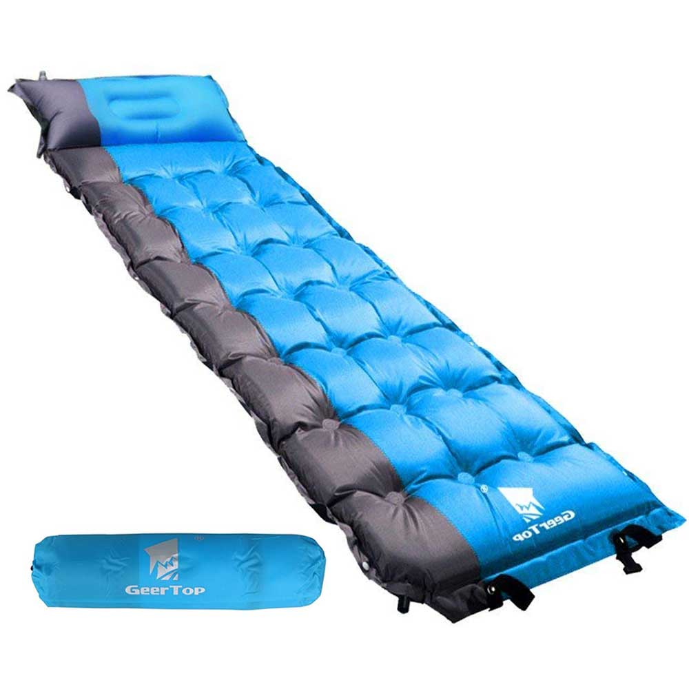 GeerTop Self Inflatable Air Mattress Splicable Waterproof Camping Mat Sleeping Pad Portable Outdoor Air Bed with Pillow Backpack