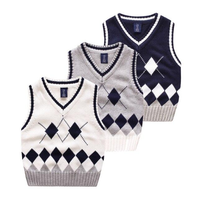 На Продажу Детские Мальчики Девочки вязать свитер дети Свитер Жилет Детская Одежда для 2-10 Лет хлопок рукавов жилет