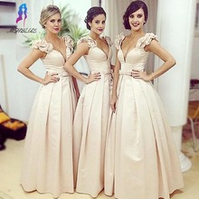 Sexy Arabic Ball Gown Bridesmaid Dresses Deep V Neck Sleeveless Pleat Ruched long Party Bridal Prom Gowns
