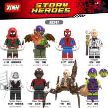 Legoings Única Venda Marvel Avengers Spiderman Miles Green Goblin Chefão Final Noir Gwenom Building Blocks Brinquedos para Crianças(China)