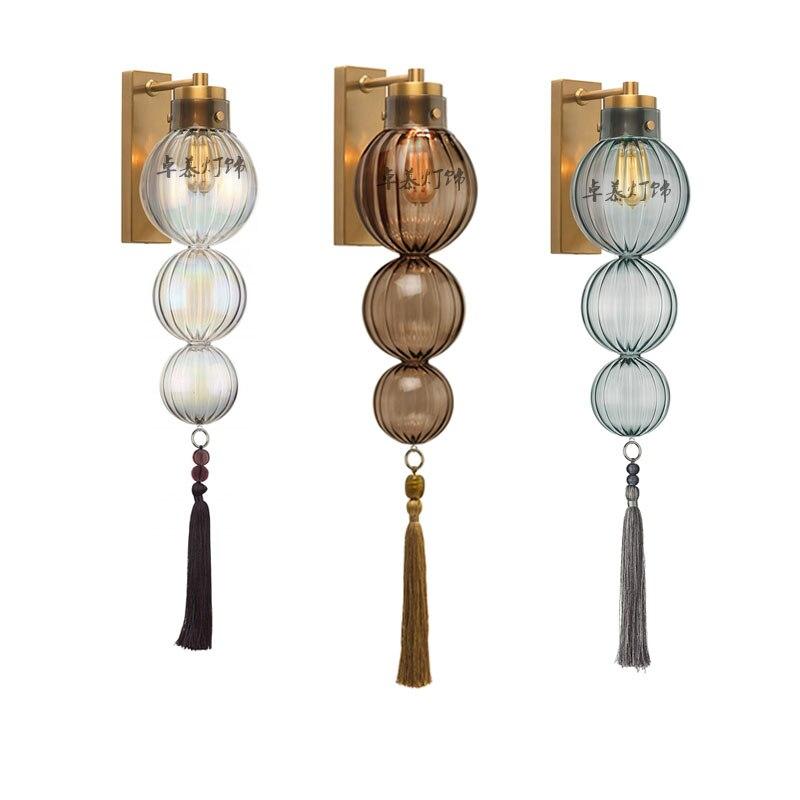 Nórdico moderno Dinamarquês todos cabaça cobre lâmpada de parede de vidro do bebê modelo de sala de estar da sala de jantar parede espelho mais iluminante lâmpada