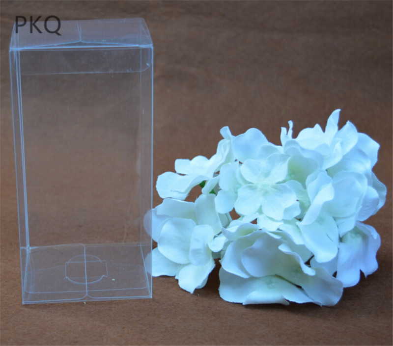 10pcs/lot Small Transparent Plastic Boxes Pvc Box Rectangle Clear Gift Display Box Long Cosmetic Crafts Packaging Box 4x4x10cm