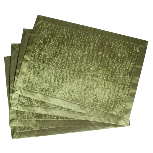 New Design Sparkle Glitter Green Table Placemat Bling Mat Set Of 4 Pcs Gift