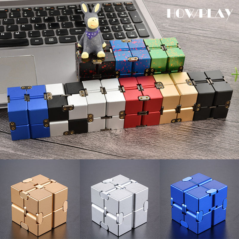Howplay Infinity cube metal fidget cube magic spinner Anti Stress Relief adult relaxing toys for children gift office ADHD EDC 32pcs lot dhl free shipping high quality fidget toys edc hand spinner for autism and adhd anxiety stress relief toys