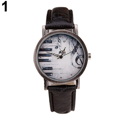 Creative Unisex Retro Notes Piano Pattern Dial Faux Leather Quartz Wrist Watch