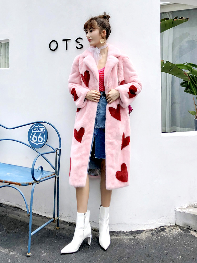 Long mink fur coat women imported velvet tunic fur coat pink heart slim