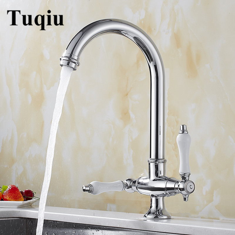 Kitchen Faucets Chrome Rotating Copper Crane Kitchen Sink Faucet Hot And Cold Water Brass Faucet Taps Kitchen Mixer Tap